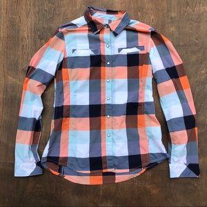 Stio plaid button down shirt pearl button M